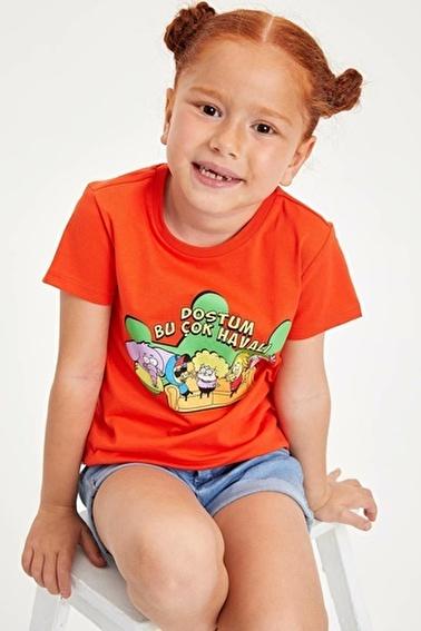 DeFacto Kral Şakir Lisanslı Kısa Kollu Kız Çocuk T-shirt Kırmızı